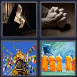 4 fotos 1 palabra monja rezar budistas