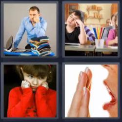 4 fotos 1 palabra 8 letras niña de rojo con la cara apoyada en sus puños, mujer bostezando, alumno dormido en clase, hombre planchando