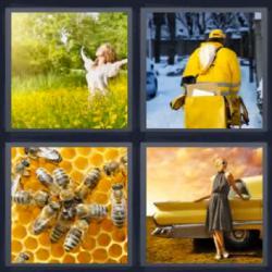 4 fotos 1 palabra 8 letras abejas en panal