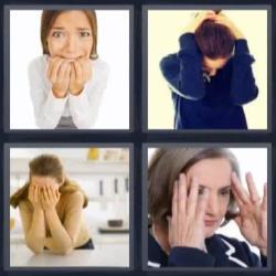 4 fotos 1 palabra 8 letras mujer con las manos en la cara