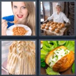 4 fotos 1 palabra 8 letras mujer comiendo pastel panadería