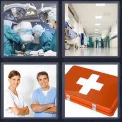 4 fotos 1 palabra 8 letras quirófano médico botiquín