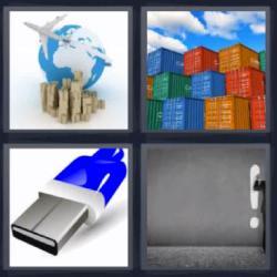 4 fotos 1 palabra 8 letras usb contenedores exclamación