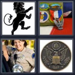 4 fotos 1 palabra 8 letras león negro mujer policía