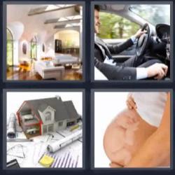 4 fotos 1 palabra 8 letras salón chofer maqueta embarazada