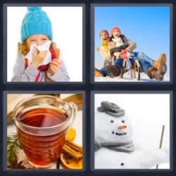 4 fotos 1 palabra 8 letras té muñeco de nieve trineo