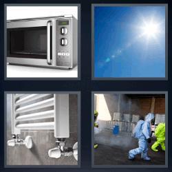 4 fotos 1 palabra 8 letras microondas sol radiador