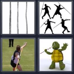4 fotos 1 palabra 8 letras palos lanzas tortuga