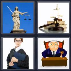 4 fotos 1 palabra 8 letras estatua juez