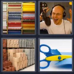 4 fotos 1 palabra 8 letras telas locutor tijeras ladrillos