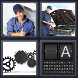 4 fotos 1 palabra 8 letras mecánico reparando un automóvil