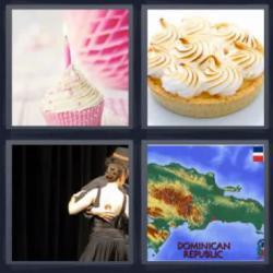 4 fotos 1 palabra 8 letras pastel con vela, pareja de baile, mapa