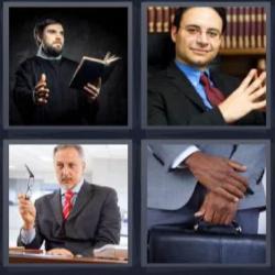 4 fotos 1 palabra 8 letras hombre de negro leyendo, maletín