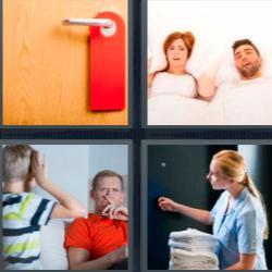 4 fotos 1 palabra 8 letras puerta con cartel rojo pareja en la cama