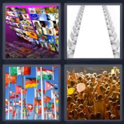 4 fotos 1 palabra 8 letras banderas sillas mesa gente