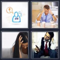4 fotos 1 palabra 8 letras manos en la cabeza cafés