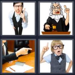 4 fotos 1 palabra 8 letras juez niño mujer con dedo índice levantado