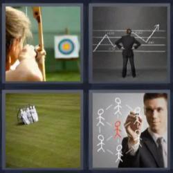 4 fotos 1 palabra 8 letras mujer con arco diana gráfico