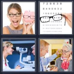 4 fotos 1 palabra 8 letras lentes cerdito letras