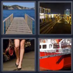 4 fotos 1 palabra 8 letras puerto piernas de mujer barco