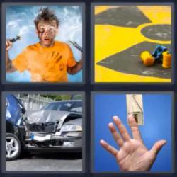 4 fotos 1 palabra 8 letras accidente trampa ratón humo