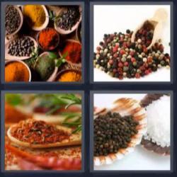 4 fotos 1 palabra 8 letras especias de colores