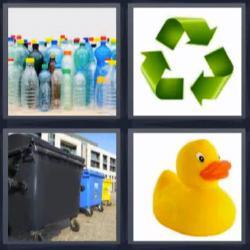 4 fotos 1 palabra 8 letras botellas de plástico, patito de goma, contenedores