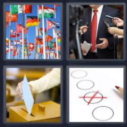 4 fotos 1 palabra 8 letras banderas hombre con corbata roja urna
