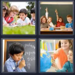 4 fotos 1 palabra 8 letras niños en el colegio o escuela