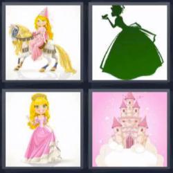 4 fotos 1 palabra princesa a caballo castillo