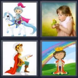 4 fotos 1 palabra 8 letras rey arco iris niña rana caballo príncipe