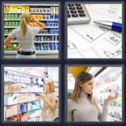 4 fotos 1 palabra 8 letras mujer en supermercado calculadora