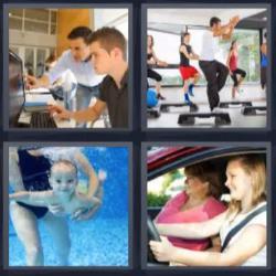 4 fotos 1 palabra 8 letras clase de gimnasia, bebé buceando, mujer conduciendo