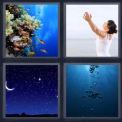 4 fotos 1 palabra 8 letras corales mujer con los brazos abiertos noche