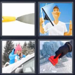 4 fotos 1 palabra herramienta nieve limpiando cristal
