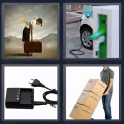 4 fotos 1 palabra 8 letras cajas, surtidor, cargador, maleta