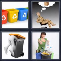 Respuesta 4 fotos 1 palabra 8 letras contenedores de basura de colores, mujer levantando el pulgar