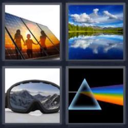 Respuesta 4 fotos 1 palabra 8 letras lago reflejando el cielo, paneles solares, gafas de esquiador, triángulo y arcoiris