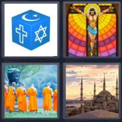 Respuesta 4 fotos 1 palabra 8 letras cubo azul con signos religiosos, vidriera con la imagen de un Cristo en la cruz, monjes budistas vestidos de naranja, templo o edificio religioso