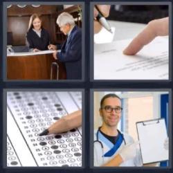 Respuesta 4 fotos 1 palabra 8 letras recepción de un hotel, alguien firmando un documento, lápiz sobre hoja de respuestas, médico con una carpeta