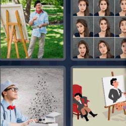 Respuesta 4 fotos 1 palabra 8 letras fotos, pintor con caballete, máquina de escribir