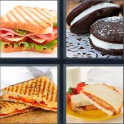 Respuesta 4 fotos 1 palabra 8 letras emparedados, bocadillo de chocolate relleno de nata como una galleta Oreo