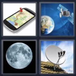 Respuesta 4 fotos 1 palabra 8 letras luna llena, mapa en un celular o teléfono móvil, antena, planeta Tierra y un satélite