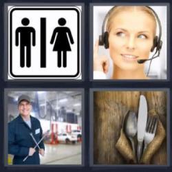 Respuesta 4 fotos 1 palabra 8 letras cartel de wc, cubiertos, mecánico, teleoperadora