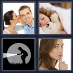 Respuesta 4 fotos 1 palabra 8 letras mujer hablando al oído, luz de linterna, señal de silencio, niña durmiendo