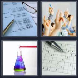 Respuesta 4 fotos 1 palabra 8 letras factura, bolígrafo, manos levantadas, líquido de colores, crucigrama