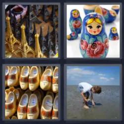 Respuesta 4 fotos 1 palabra 8 letras figuritas de la Torre Eiffel, niño recogiendo conchas o piedras de la orilla de la playa, muñecas rusas, zuecos de madera.