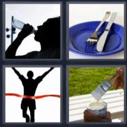 Respuesta 4 fotos 1 palabra 8 letras mujer bebiendo agua, plato azul con cuchillo y tenedor, hombre cruzando cinta roja, pincel con pintura blanca.