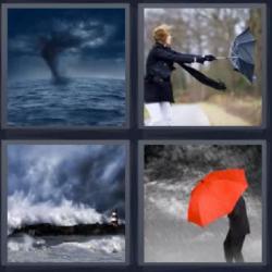 Respuesta 4 fotos 1 palabra 8 letras huracán, remolino sobre el mar, viento llevándose un paraguas, paraguas de color rojo.
