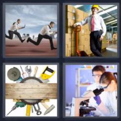 4 fotos 1 palabra 8 letras hombres con corbata corriendo, hombre con casco amarillo en un almacén con cajas, herramientas, científicos con un microscopio.